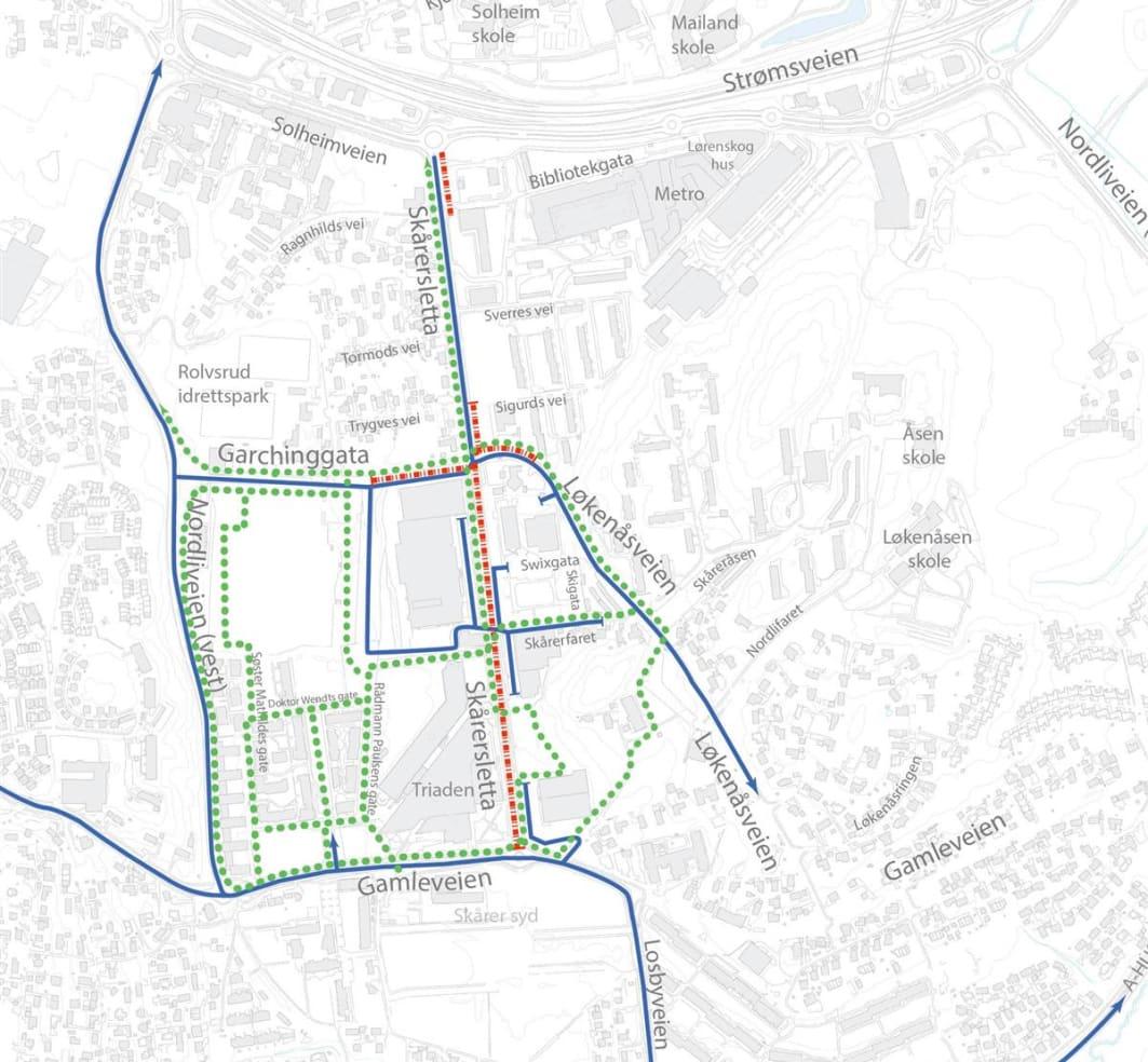 """""""Trafikkart"""" over Lørenskog, fra kommunens hjemmeside"""