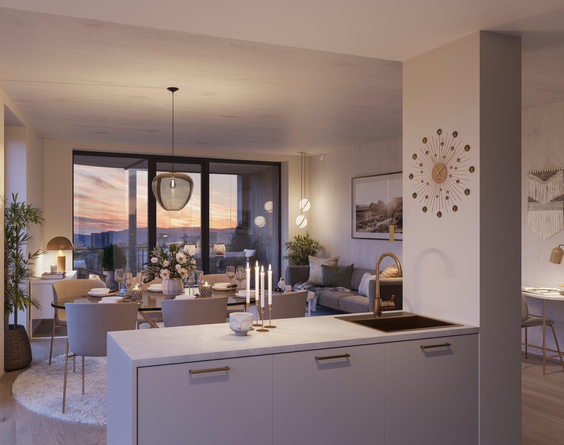 Lys Safran: Stue/kjøkken inspirasjon