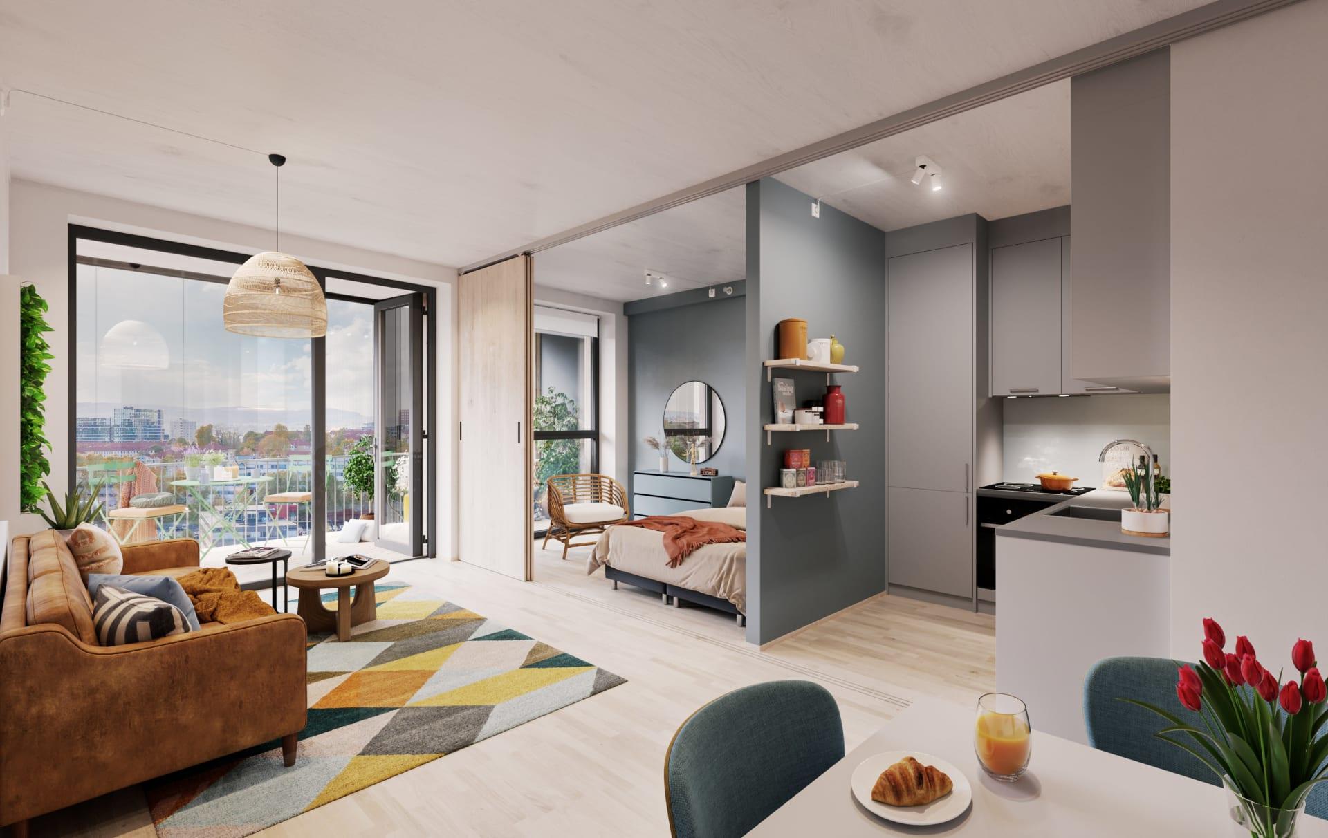 Vanilje: Stue med tilvalg grått kjøkken