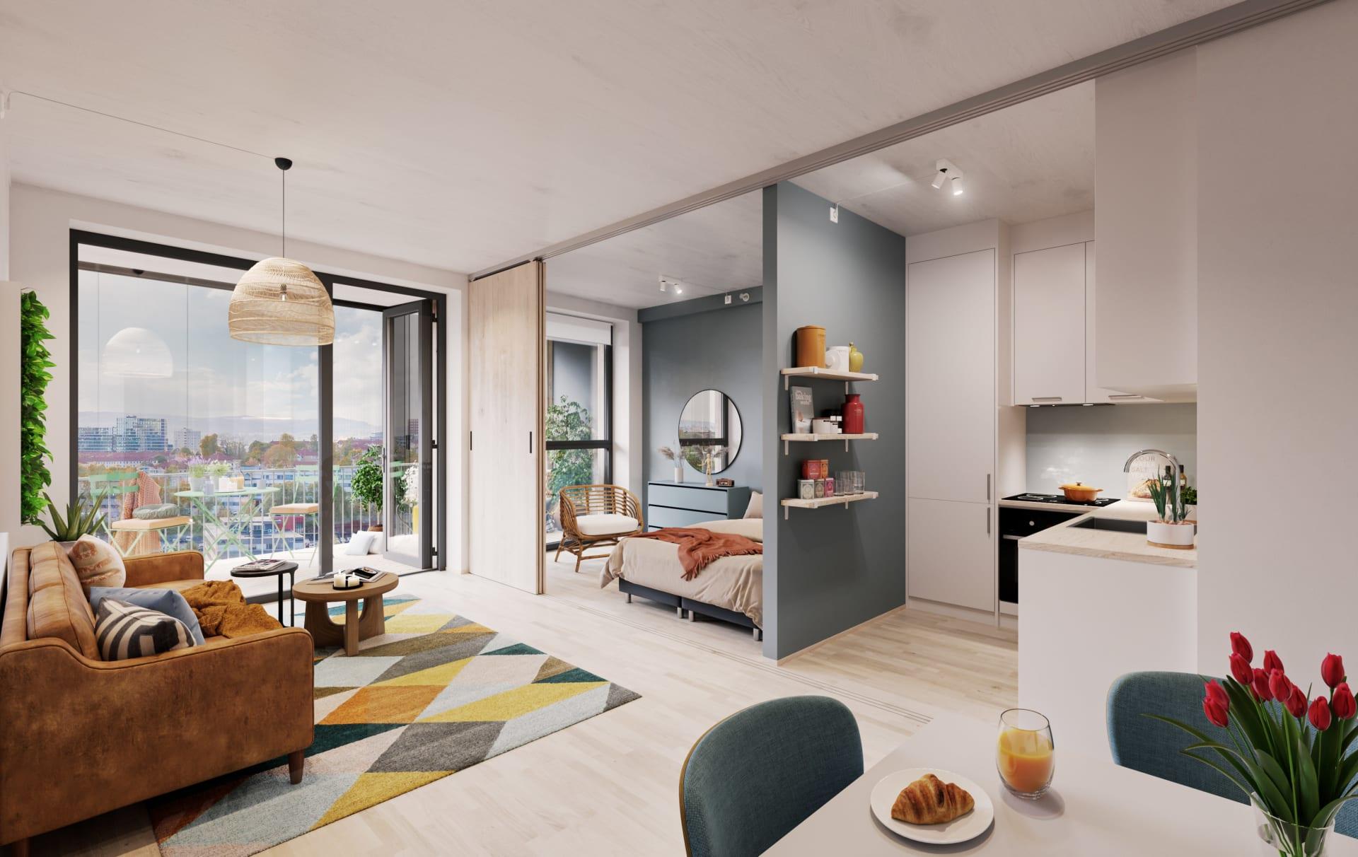 Vanilje: Stue med standard hvitt kjøkken