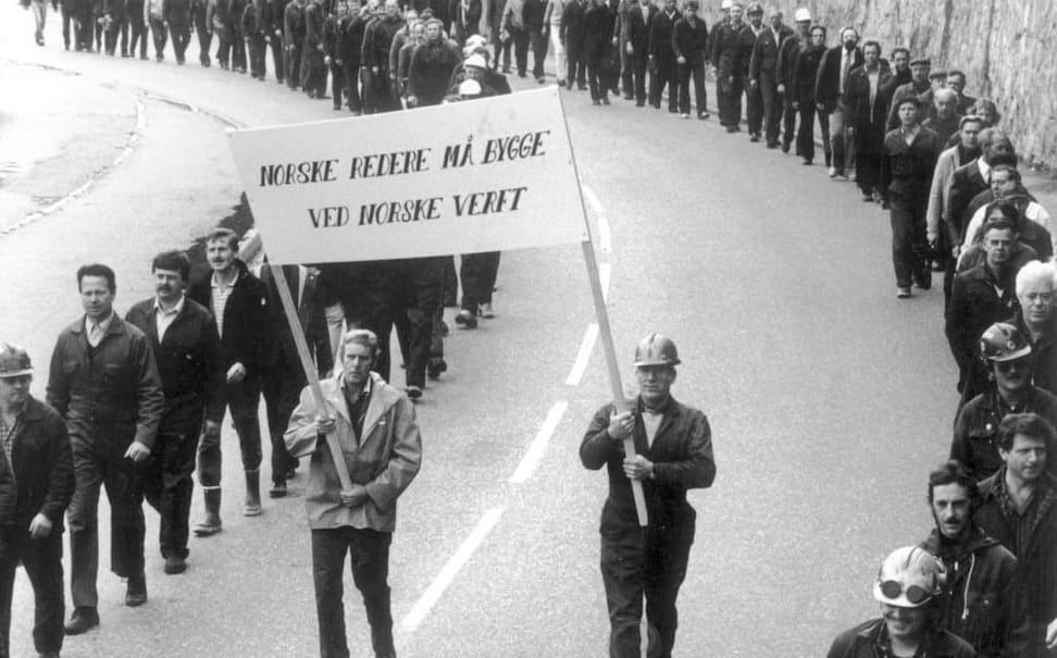 Arbeidere ved FMV demonstrerer mot at norske redere i løpet av 70-tallet begynte å flytte skipsproduksjonen ut av landet.