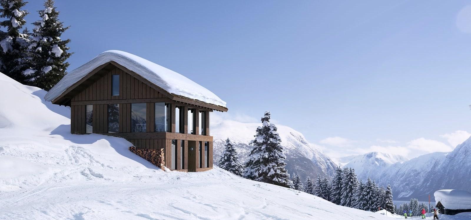 Ilustrasjon Vy-hytte med underetasje