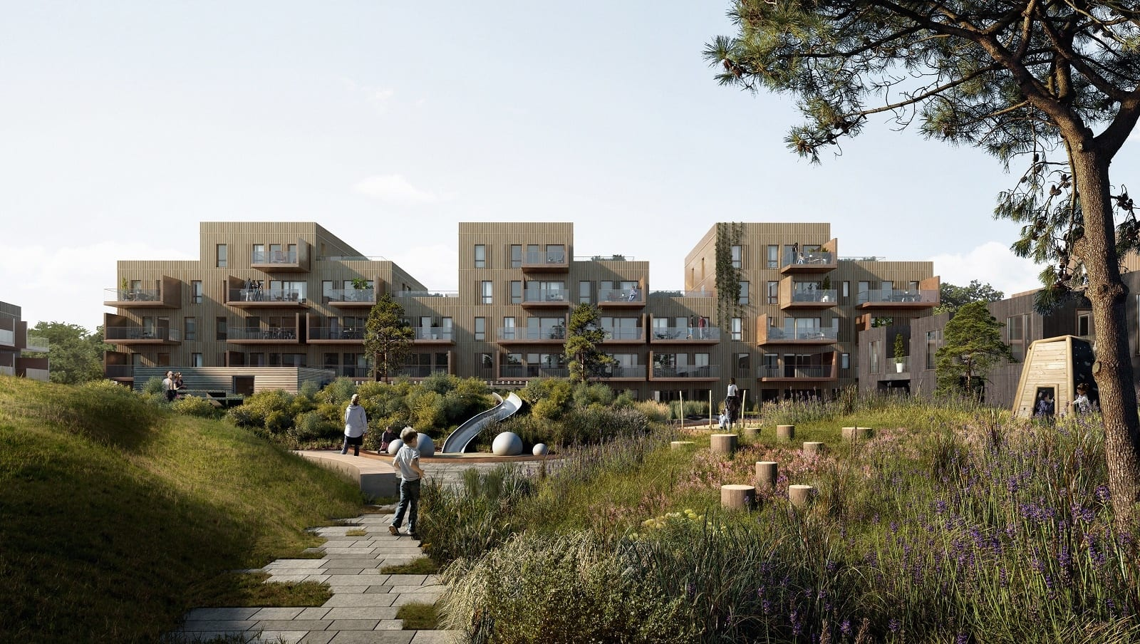 MODERNE OG SOLRIKE BOLIGER: Alle de nye hjemmene har blitt tegnet slik at de skal nyte mest mulig av de gode solforholdene i Sørum – både på balkonger og terrasser.