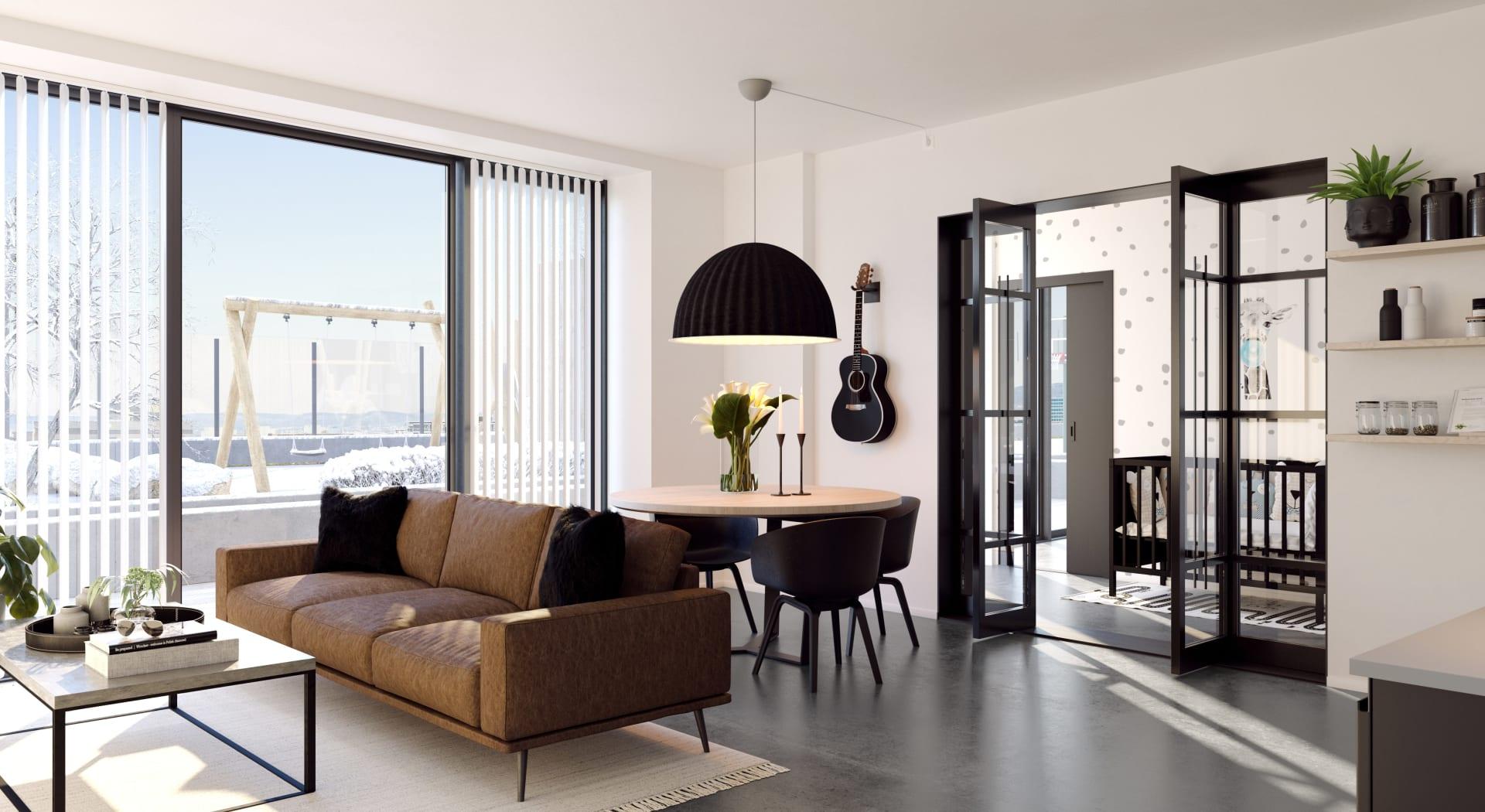 Stue med betonggulv - inspirasjon