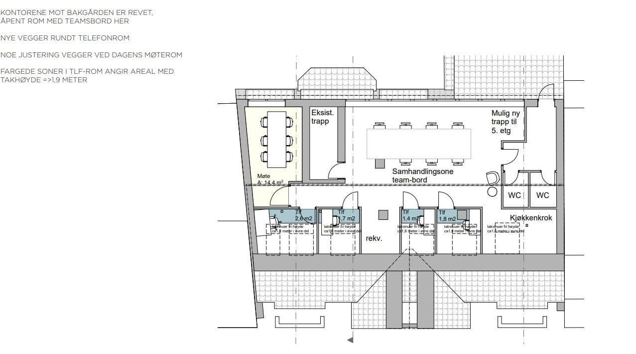Alternativ innredning for 6. etasje