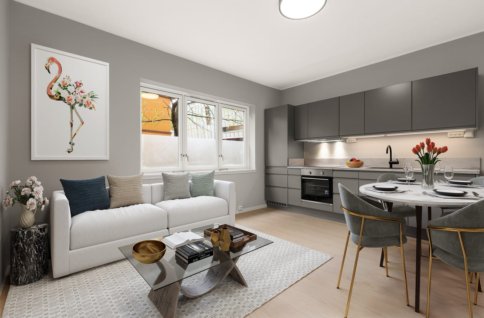 Stue/kjøkken (illustrert møblering)
