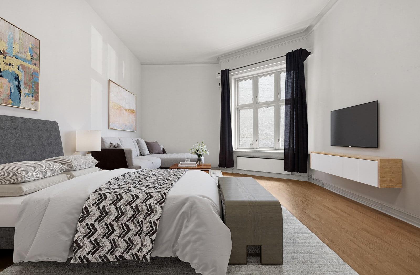 Bilder av tilsvarende rom i 1 etasje uten bad (illustrert møblering)