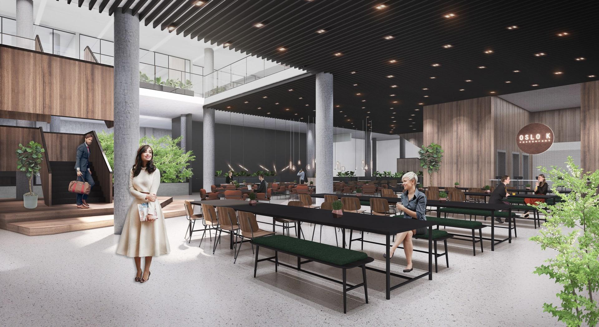 Første etasje i Oslo K blir et samlingssted, tilrettelagt for samarbeid. Her fra bedriftsrestauranten.