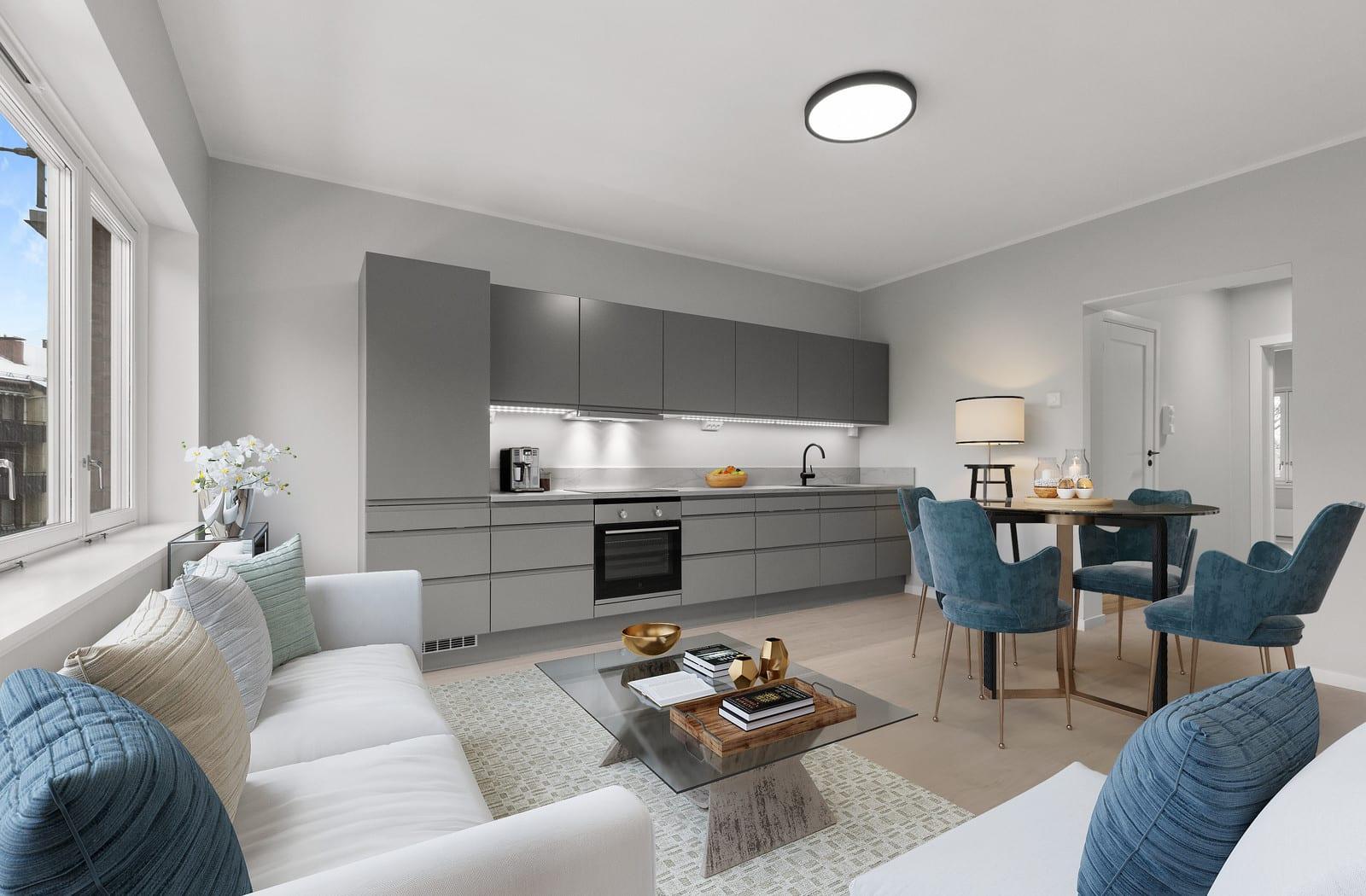 (Bilder av illustrert møblering i leilighet i 3 etasje)
