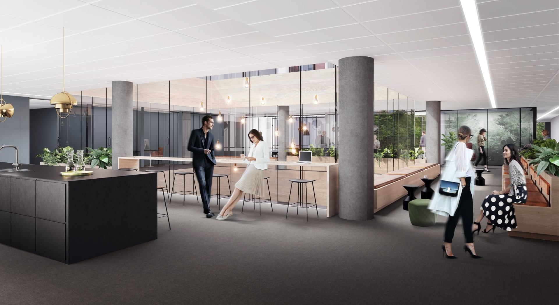 Illustrasjon av kontorlokaler i Oslo K - med lyssjakten som slipper inn rikt med lys i midten.