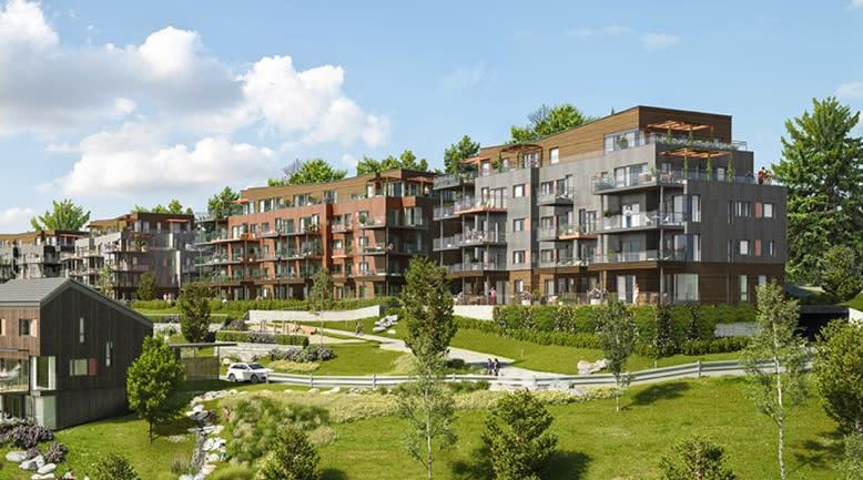 De to første husene vil inneholde totalt 48 leiligheter og være på 5 etasjer i tillegg til P-kjeller