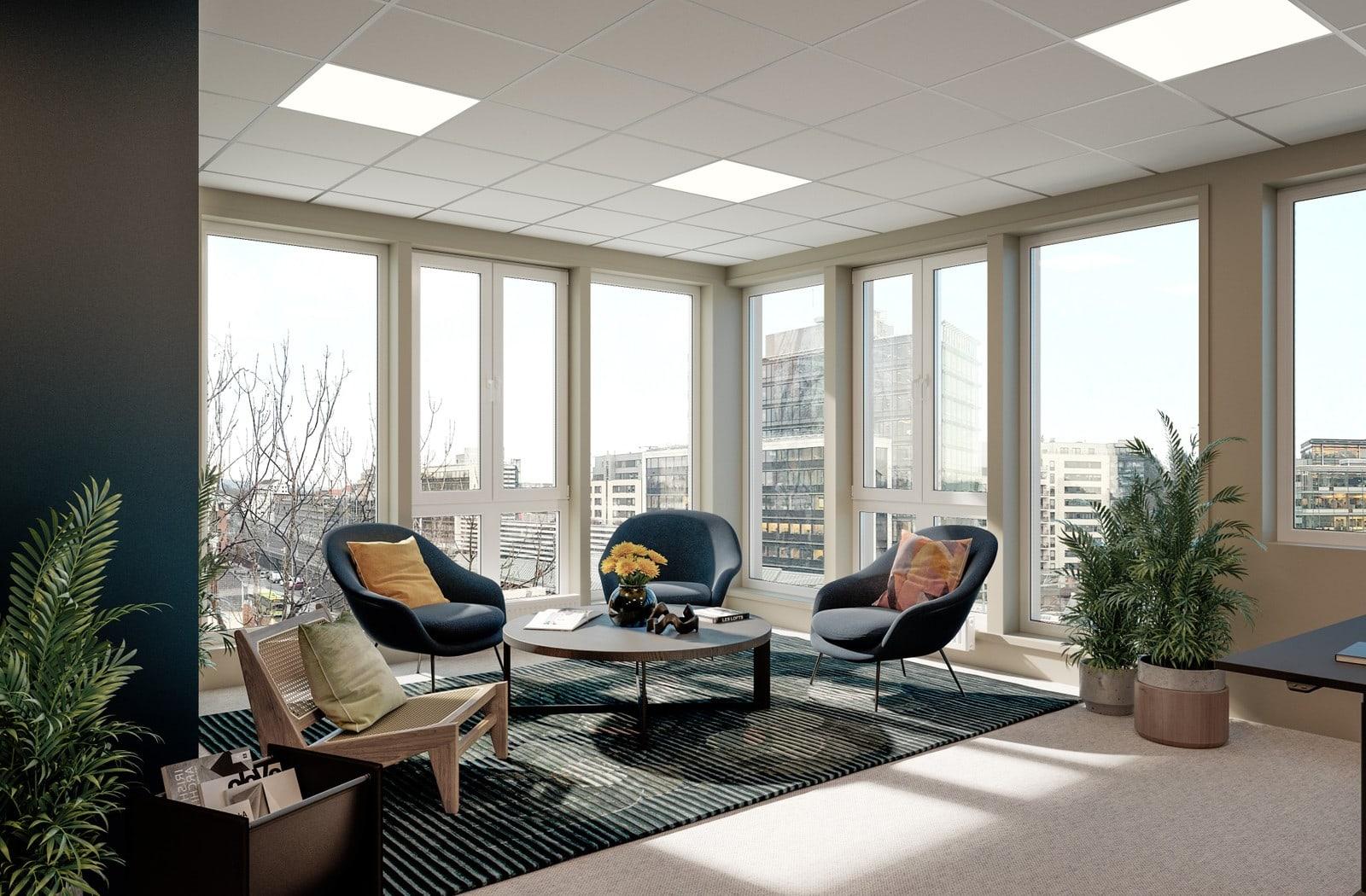 Interiøret tar nytte av byggets gode lysforhold og flotte utsikt