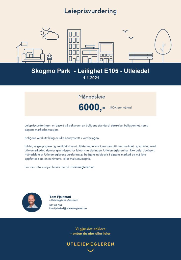 Leieprisvurdering E105 Skogmo Park, Jessheim