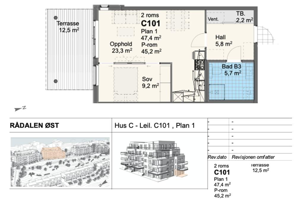 Rådalsåsen Hus C - Leil. C101 , Plan 1