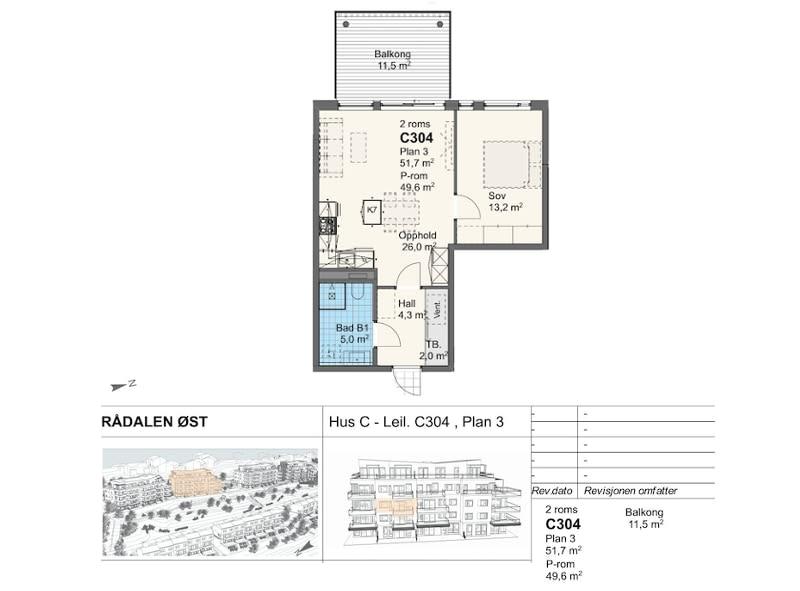 Rådalsåsen Hus C - Leil. C304 , Plan 3
