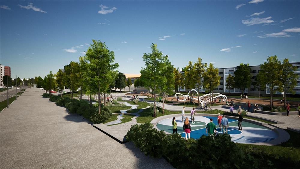 Illustrasjon aktivitetspark (Norconsult). Kilde: Lørenskog Kommune