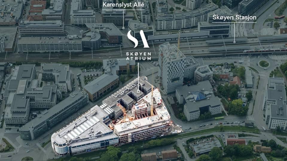 Arena by Schage har fått tilhold i Skøyen Atrium, som er helt kvartal på 62.000 kvadratmeter, heleid av Schage Eiendom. Skøyen Atrium er i hovedsak en kontoreiendom, men har også noen butikklokaler på bakkeplan. | Foto: Schage Eiendom